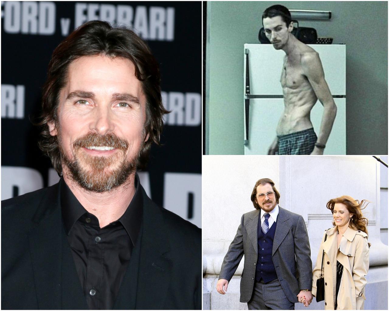 画像: 右上:映画『マシニスト』の場面写真 ©CASTELAO PRODUCTIONS /Album/Newscom、右下:映画『アメリカン・ハッスル』の撮影中の様子。