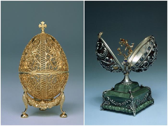 画像: ロシアのモスクワにあるクレムリン博物館に所蔵されているインペリアル・イースター・エッグの一部。