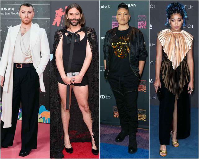 画像: 左から、サム・スミス、ジョナサン・ヴァン・ネス、サラ・ラミレス、アマンドラ・ステンバーグ