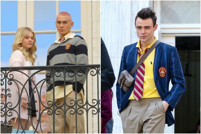 画像: ニューヨークの撮影セットにて。左:エミリー・アリン・リンド&エヴァン・モック、右:トーマス・ドハーティ