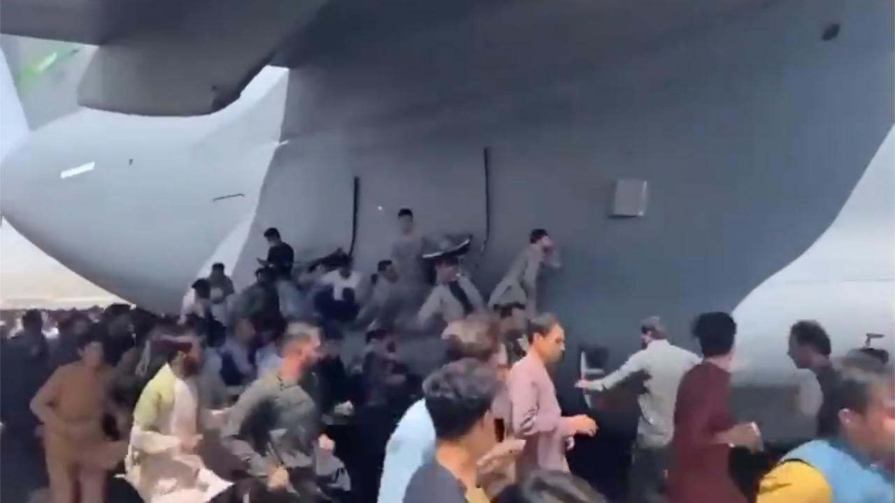 画像: 米軍の飛行機によじ登る人々。(8月16日にカブール国際空港で撮影)