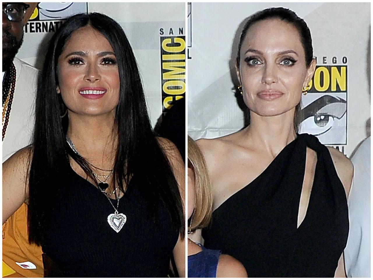 画像: MCUの新作映画『エターナルズ』で共演するサルマ・ハエック(左)とアンジェリーナ・ジョリー(右)。