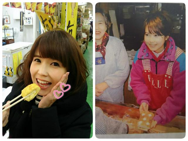 画像: 左:柳橋中央市場で大人気のふわふわ卵焼き! 右:蒲鉾売りのお手伝い。若かりし高校時代(笑)