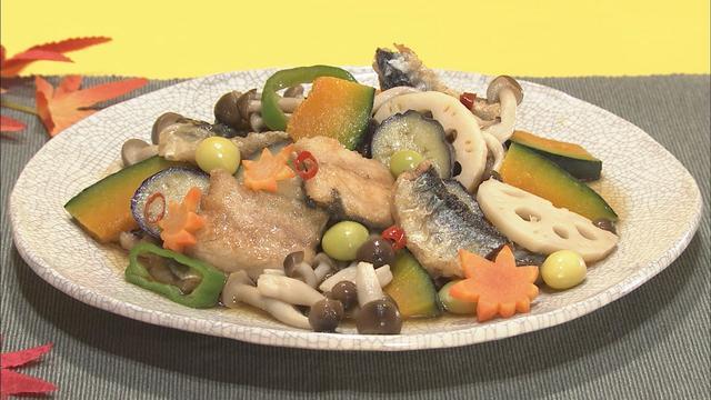 """画像2: 秋の食材をふんだんに使った「サンマと野菜の揚げびたし」 味の決め手は""""うどんスープ""""!?"""