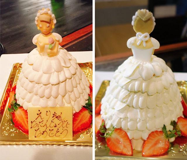 画像: 友人からのサプライズケーキ!スカートの部分が食べられます