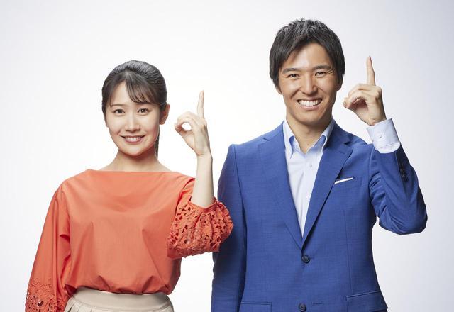 画像: メインMCの濱田隼アナと島津咲苗アナ