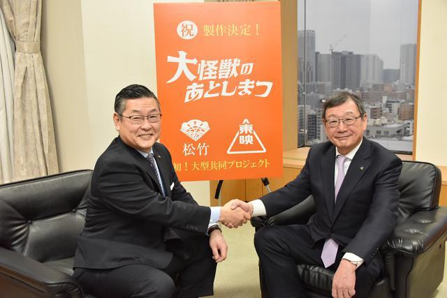 画像: 左)松竹・迫本社長、右)東映・多田社長