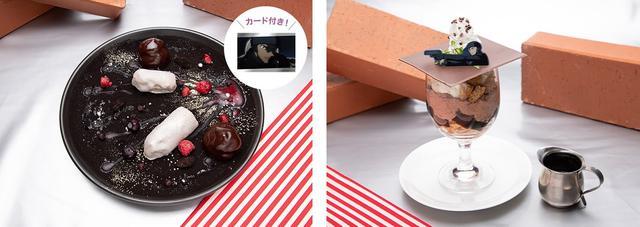 画像: 左:シルバーブレットの銃声エクレア、 右:赤井のアフォガードパフェ