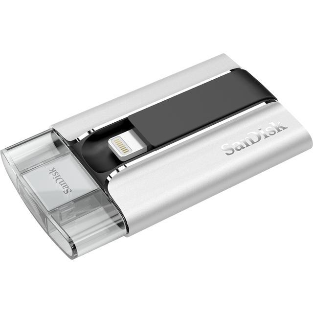 画像: ▲iXpandの本体はとても小型・軽量。中央部のLightningコネクタを起こして、iPhone に接続する。iXpandで保存したデータはUSBを介してパソコンなどに転送することも可能。 www.sandisk.co.jp