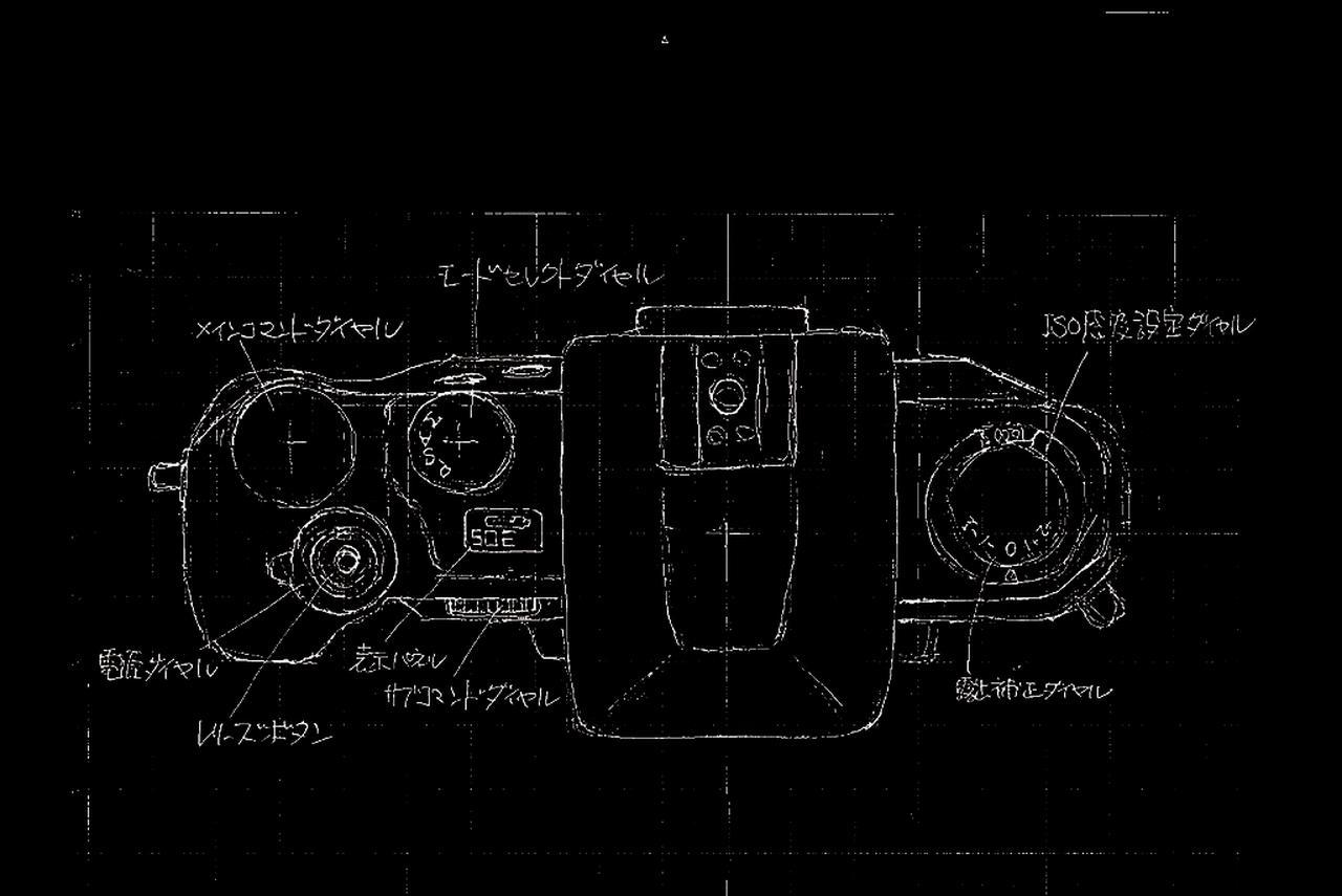 画像: スケッチ<0>  2009年10月19日 スケッチを描いた三浦氏自身も忘れていた最初のスケッチ、ゼロ。Df の特徴になっているシャッター速度ダイヤルがない。どうしても発売にこぎつけたくて遠慮したからだそうだ。