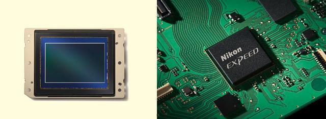 画像: ▲左がD850に搭載される裏面照射型CMOSセンサーで有効画素数は4575万画素(総画素数は4689万画素)、サイズは約35.9×23.9mm。右はニコンの最新画像処理エンジン「EXPEED 5」。 www.nikon-image.com