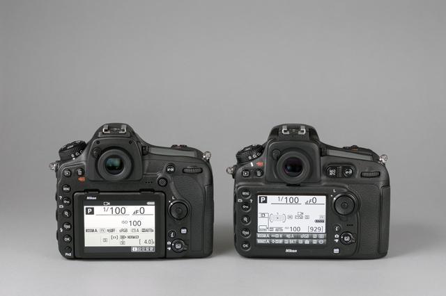 画像: 左がD850で右がD810。D850はボディ左下部に「Fn2(ファンクション2)」ボタンを設けている。