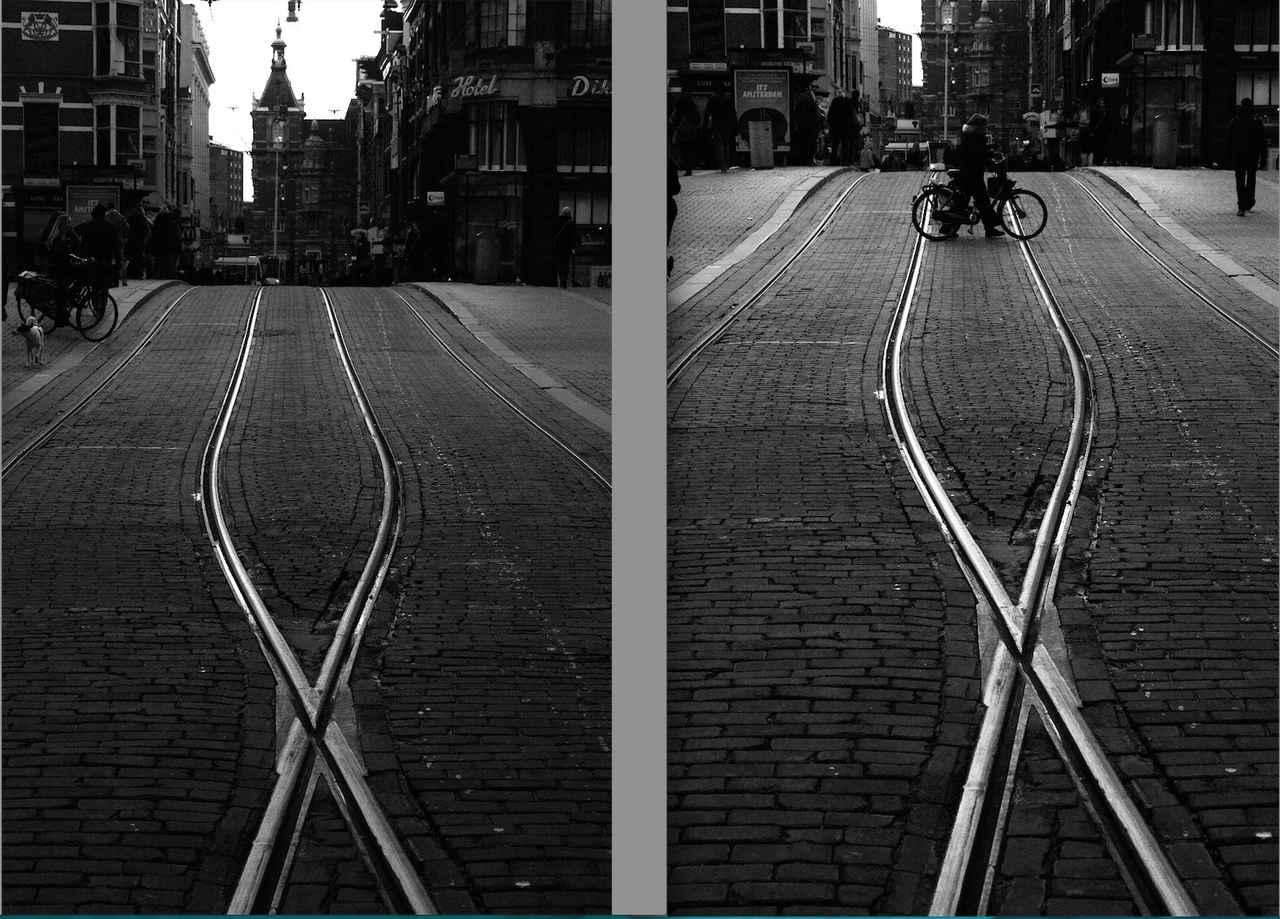 画像: 【道】路面電車のレールが美しく輝いていたので、街並みと奥行きを意識して撮ったのが一枚目。でもなにか物 足りないと感じ、アクセントに自転車でもやってこないかなと期待して、レールが交差している点と対称になる あたりにピントを置いて待って撮ったのが二枚目。 ■シグマDP3 Merrill プログラムAE(マイナス2 露出補正) ISO200