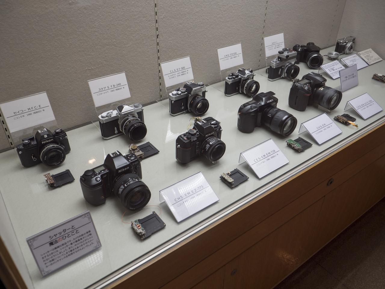 画像: シャッターの魔法コーナー。各カメラとシャッターユニットが展示される