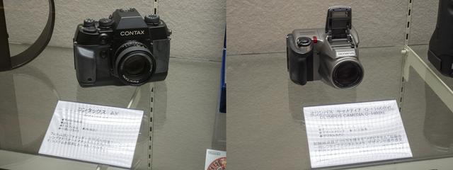 画像: 平成8年登場のフィルム面を前後させAFを実現したコンタックスAXと平成10年に登場した100万画素を超えたデジタルカメラ、オリンパス キャメディアC-1400XL