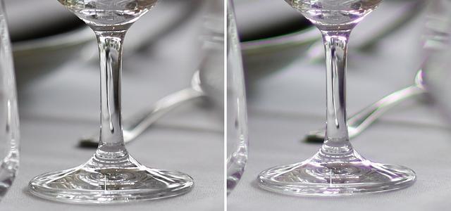 画像: 色収差低減の比較。左はRF85㎜ F1.2 L USM、右がEFEF85mm F1.2L II USM(2006年3月発売)