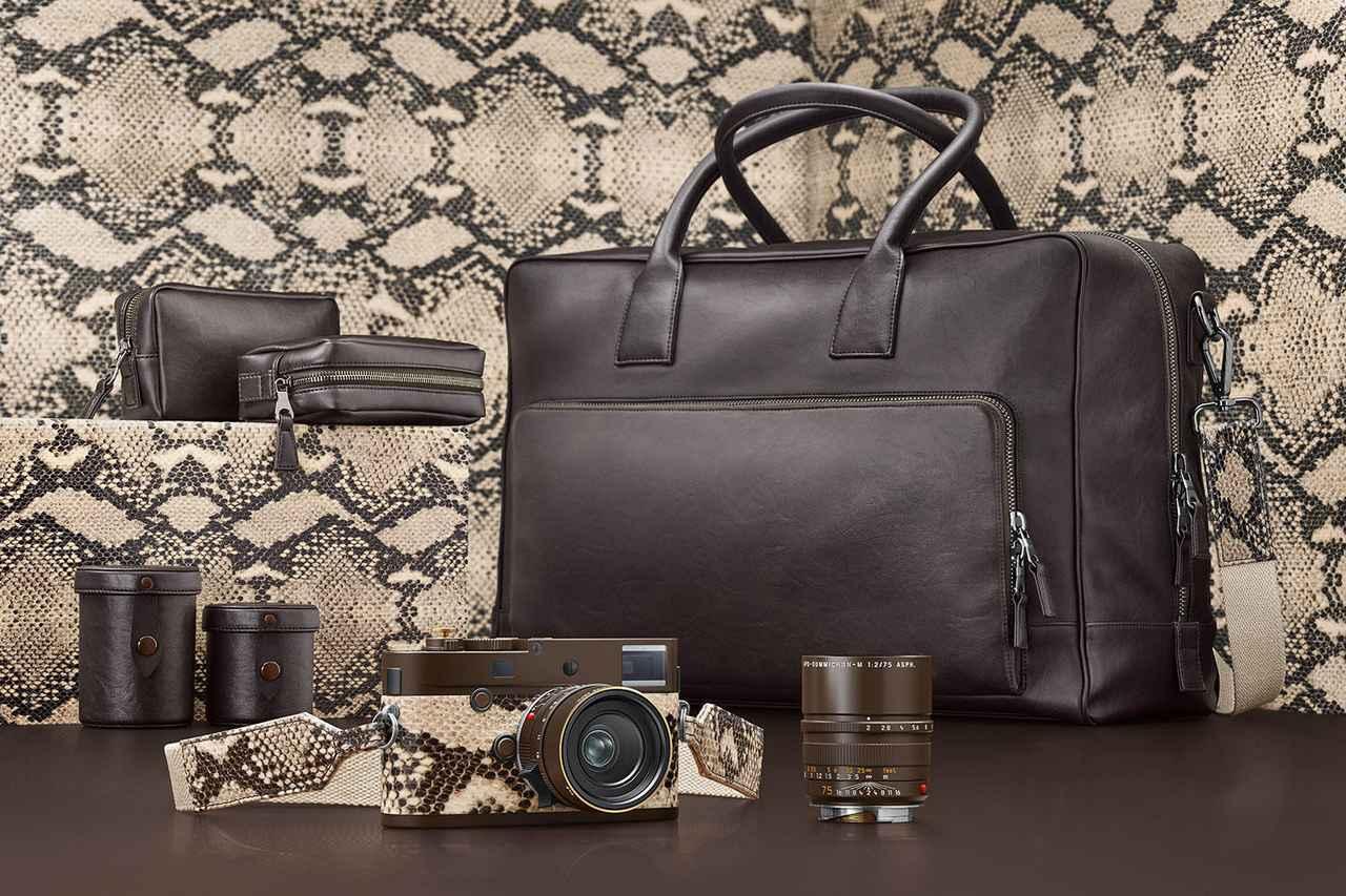 """画像: ライカMモノクローム """"Drifter"""" by Kravitz Designセットのカメラ、レンズ、バッグとポーチ、レンズケース"""