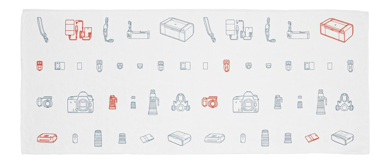 画像: カメラ、プリンター、レンズ、スピードライトやバッテリー、カートリッジなどが描かれた線画イラスト