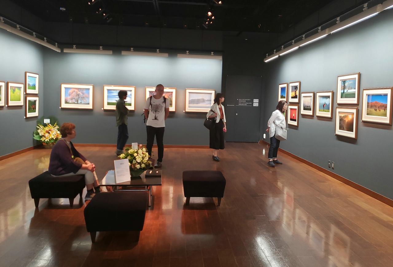 画像: 展示風景。写真展には多くの方が来場され、川井さんが撮影された北海道の美しい風景と可愛らしい仔馬の作品に目を奪われていました。