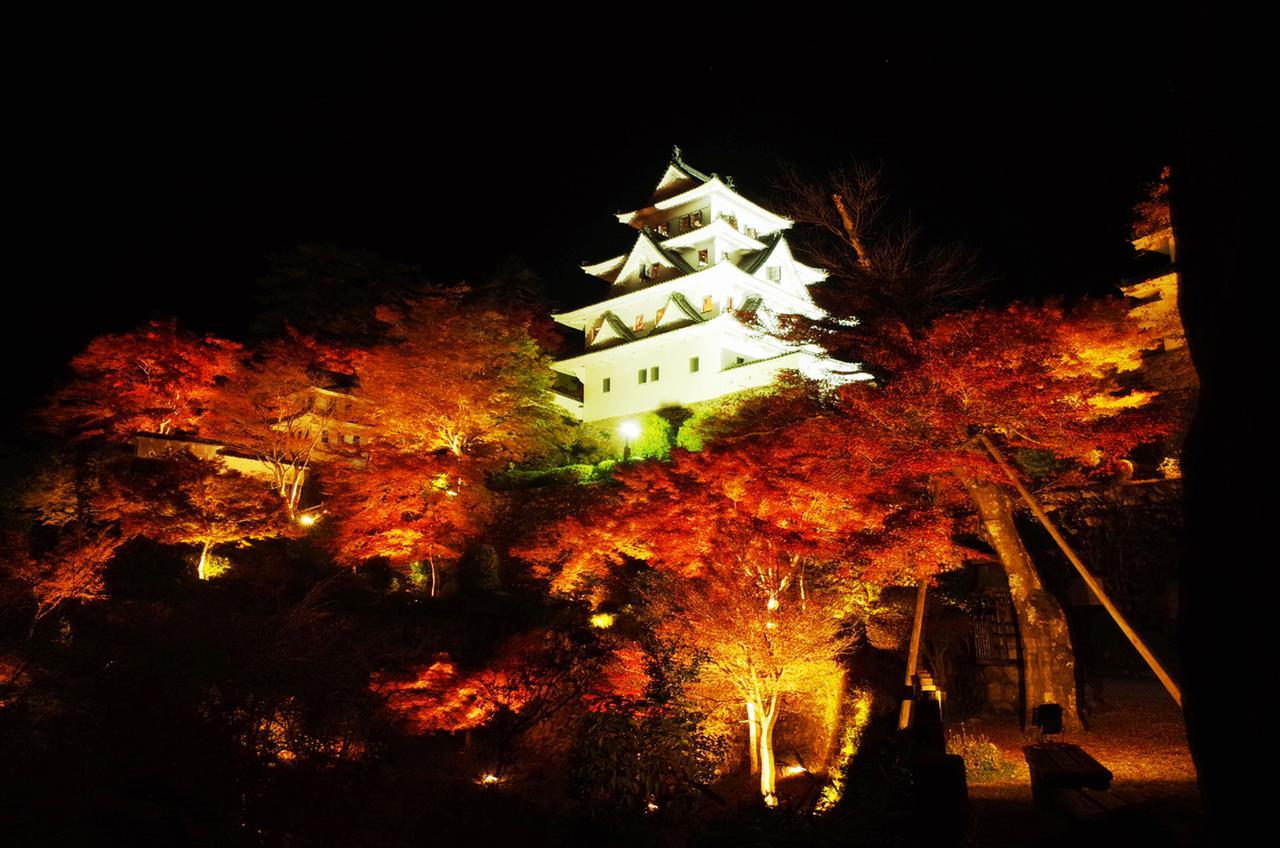 画像: ライトアップされた城と紅葉は妖しくも美しい