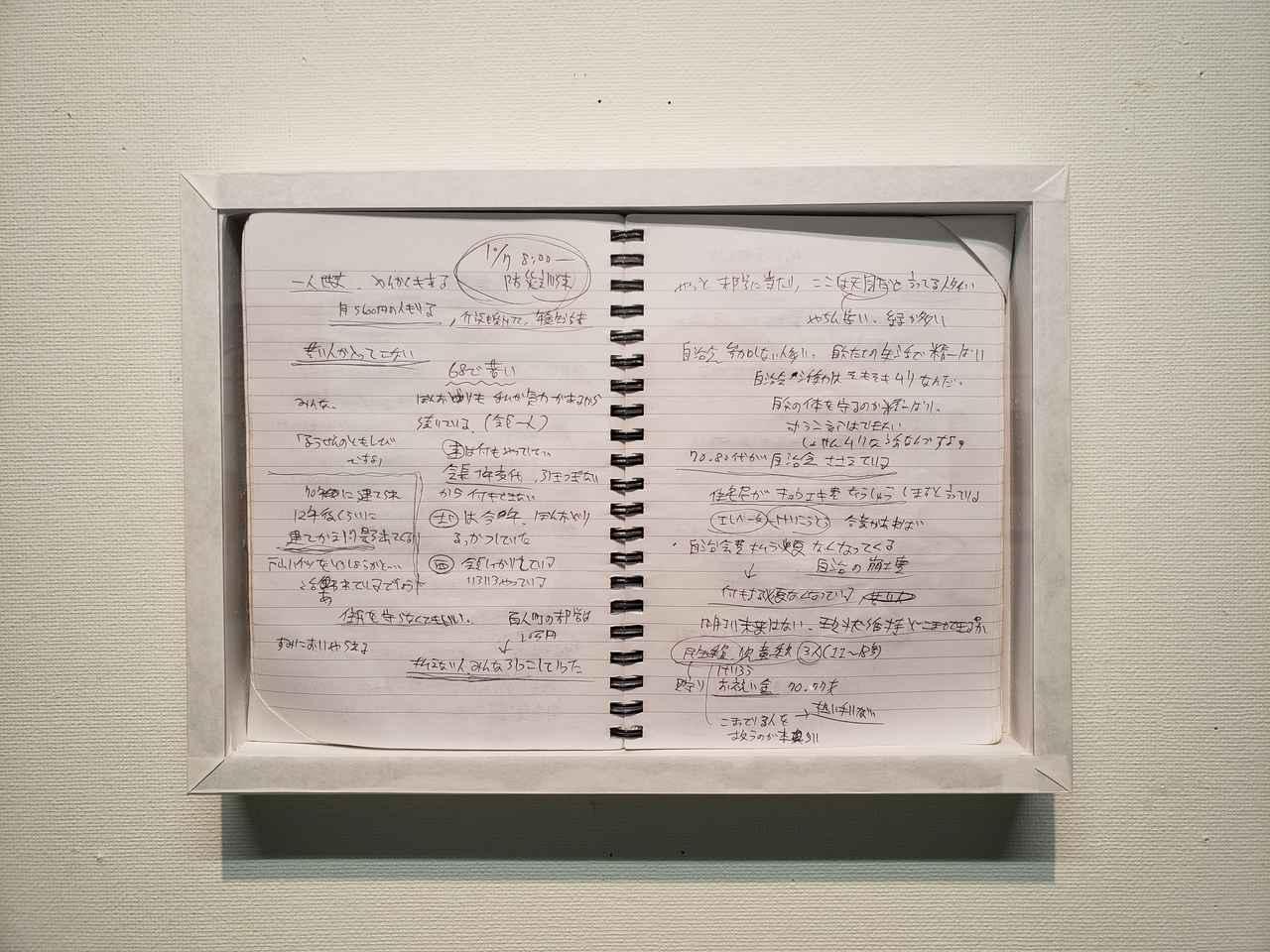 画像: 藤原さんの取材ノート。戸山ハイツへの撮影取材は、当初、住民宅のインターホンを1軒1軒押し150軒ほど回ったけれど、断られ続けたそうです。