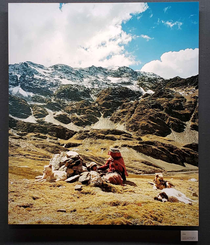 画像: 「ペルー」 田尾沙織さん ラレスの谷にて。アンデス山脈を背に、放牧しているアルパカやリャマの群れなど、雄大な景色が広がる。先住民の女性が子守りをしながら糸を紡いでいた。 (展示作品より)