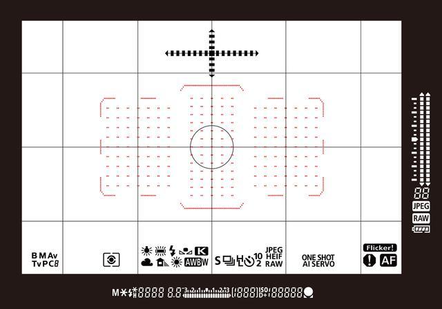 画像: キヤノン EOS-1D X Mark III 光学ファインダー表示