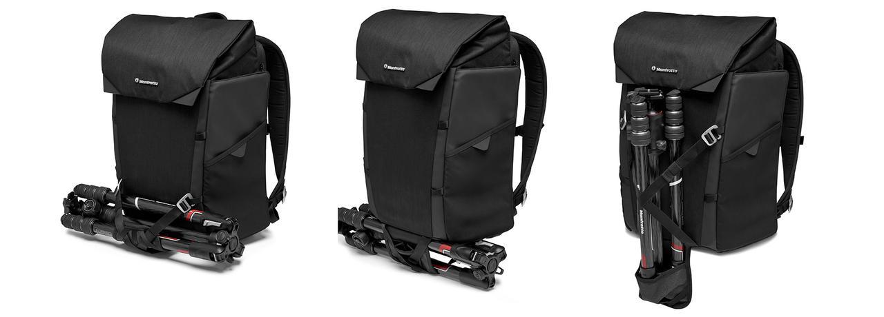 画像: バッグ前面に縫い込まれた三脚ホルダーとストラップを使えば、様々なバリエーションで三脚の取り付けが可能。