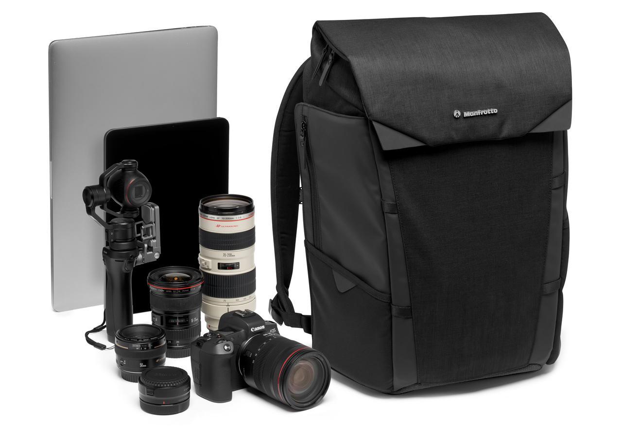 画像: Chicago バックパック 50 収納例:レンズ付きミラーレスカメラ1台+交換用レンズ3~4本+ジンバル+15インチノートPC+パーソナルアイテム