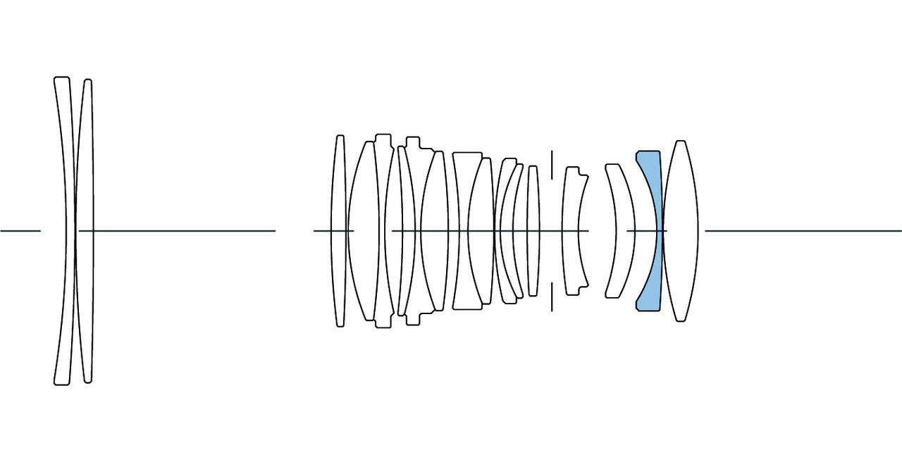 画像: ▲レンズ構成は12群17枚。ブルーはSLD(Special Low Dispersion:特殊低分散)レンズ。
