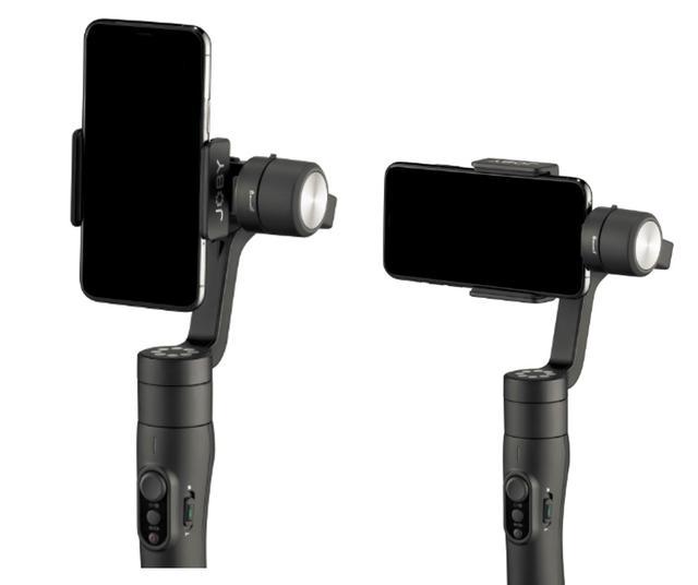 画像: ジンバル本体のボタン操作、ないしは手動でスマートフォンの縦横切り替えが可能。