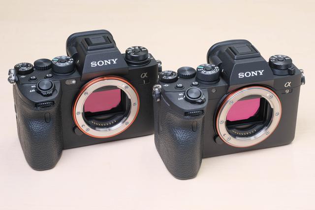画像: 左がα1で右はα9 Ⅱ。正直、パッと見では区別がつかない。よ~く見るとトップカバーの形状が違うので新規に起したのは間違いないが…。