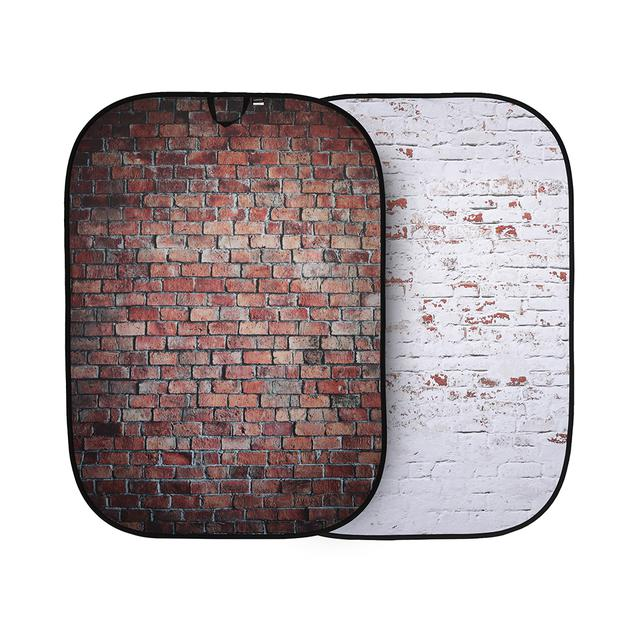 画像: 折たたみ式柄背景 1.5x2.1m レッド/ホワイトレンガ 、型番LL LB5706。