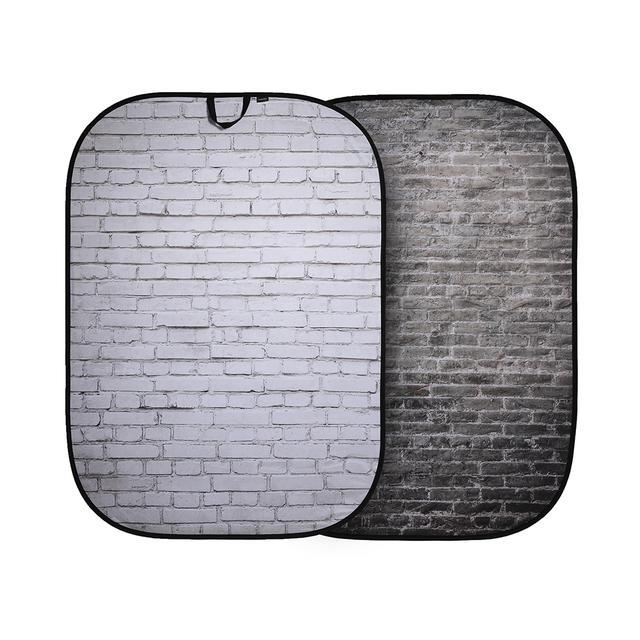 画像: こちらは折たたみ式柄背景 1.5x2.1m ホワイト/グレーレンガ。型番LL LB5707