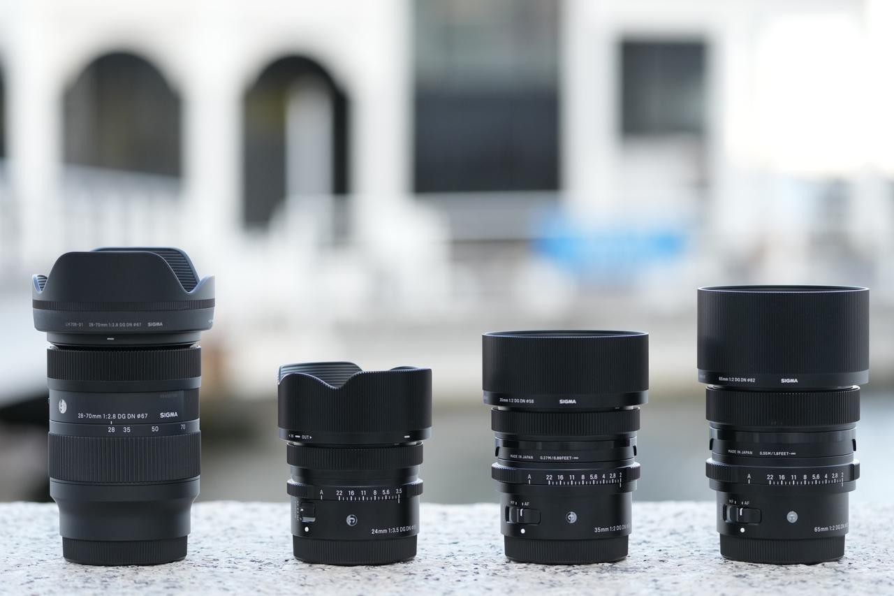 画像: 左から28-70mm、24mm、35mm、65mm。