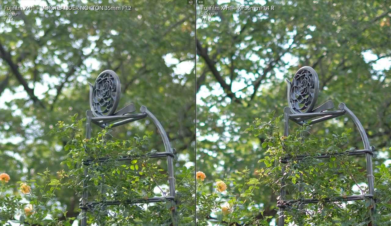 画像: 中距離F1.4。拡大するとドコ見ても性格の違いがあります。中央右手のモニュメント(?)で解像感と背景の点光源のボケ感。中央左手のモニュメントの左下側で収差やフリンジの具合。
