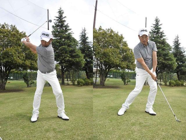 画像: バックスウィングで左ひざを頑張って目標側に張り出す(写真左)。それによって生まれた強い捻転をほどけばクラブが自然に加速する(写真右)