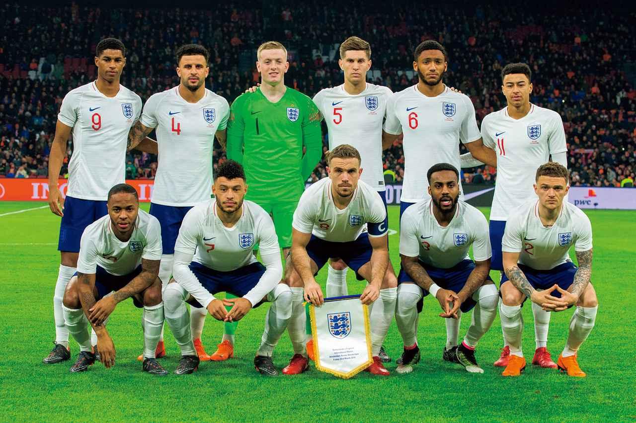 画像: イングランド◎6大会連続15回目:1950、54、58、62、66、70、82、86、90、98、2002、06、10、14年 / FIFAランク◎12位 / 監督◎ガレス・サウスゲート