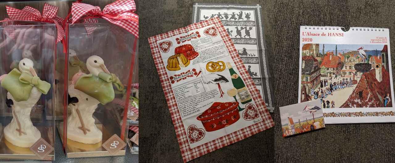 画像: 左からコウノトリのチョコレート、テーブルクロス、絵本作家アンシの雑貨/2019年11月荒木撮影