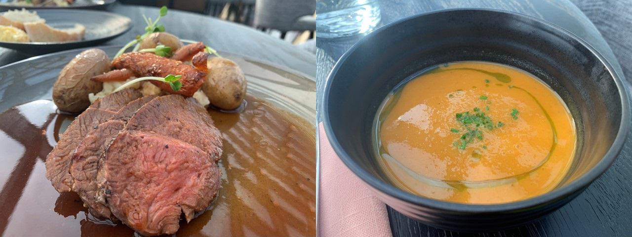 画像: アイスランドラム(1人前)・季節の野菜スープ(1人前)/ 馬渕撮影 (※前菜のスープは変更となる場合がございます)