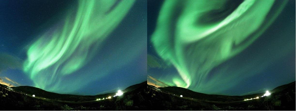 画像: オーロラ / 弊社スタッフが別日に撮影 ※自然現象のため天候状況などによってはご覧いただけません