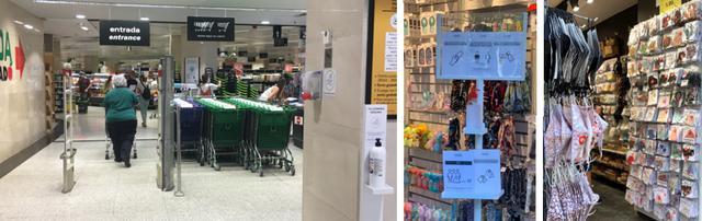 画像: 左から、スーパーマーケット入口の消毒・雑貨店での対策に関する看板・カラフルなマスク販売も /全て現地手配会社スタッフ撮影