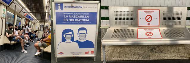 画像: 左から、地下鉄車内の様子・マスク着用の告知看板・ホームのベンチ/全て現地手配会社スタッフ撮影