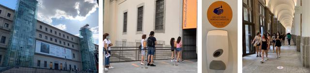 画像: 左から、ソフィア王妃芸術センター・入り口に並ぶ列の様子・館内の消毒液・館内の床にもルート指示のシール /全て現地手配会社スタッフ撮影