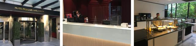 画像: 左から、マドリッド市内の「ホテル・パセオ・デル・アルテ」・フロントにはアクリル板も・ 朝食レストランではスタッフが取り分けるスタイル/全て現地手配会社スタッフ撮影