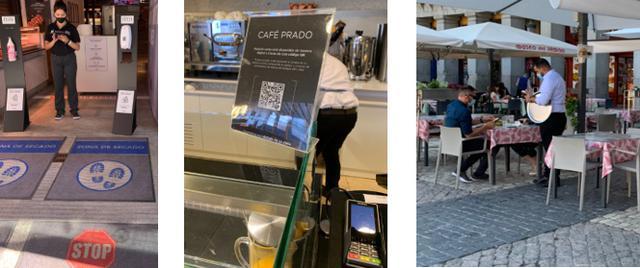 画像: 左から、店入口での消毒・QRコード型メニュー バルのテラスで自分のスマートフォンを見ながら注文する様子/全て現地手配会社スタッフ撮影