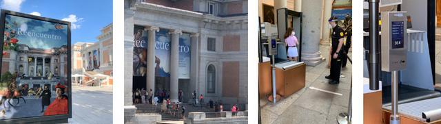 画像: 左から、プラド美術館前・入り口にならぶ列の様子・入り口の体温チェック・検温機械に体温が表示される /全て現地手配会社スタッフ撮影