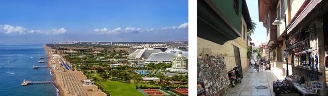 画像: 左:リゾートホテルが並ぶアンタルヤのビーチ 右:アンタルヤ旧市街・カレイチ(共に現地手配会社提供・イメージ)