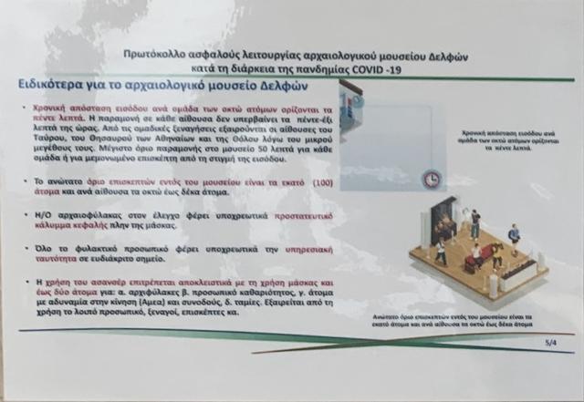 画像: デルフィ遺跡・博物館のコロナ対策についての案内③(現地手配会社提供)