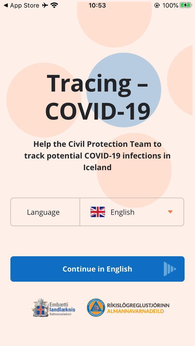 画像: アイスランドのコロナウィルス追跡アプリ『Rakning C-19』(弊社スタッフ撮影/2020年10月)